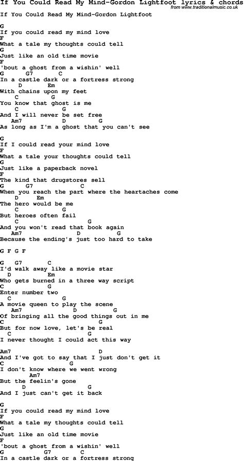 Love Song Lyrics for:If You Could Read My Mind-Gordon