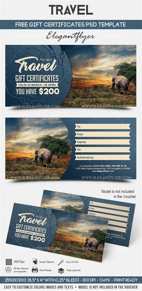 travel gift certificate template free travel free gift certificate psd template by elegantflyer