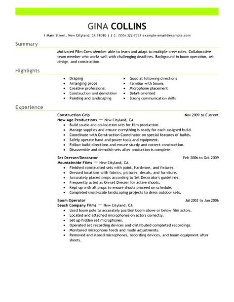 media resume template media production resume sle free sles exles