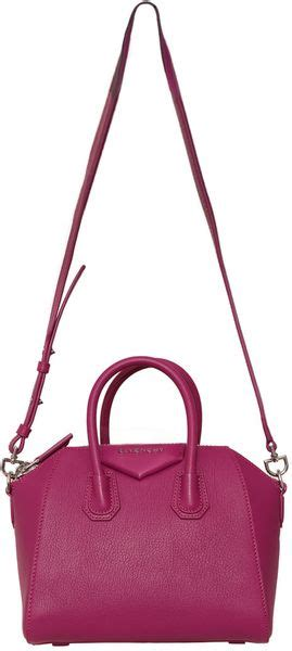 Givenchy Antigona Ostrich 1518 4 In1 givenchy mini antigona bag in pink fuchsia lyst