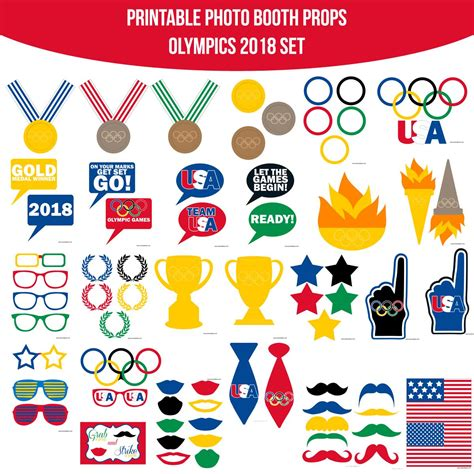 printable photo booth props 2018 instant download olympics 2018 printable photo booth prop
