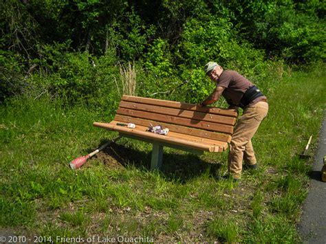trail bench a new bench along lovit s ada trail may 6 2014 lake