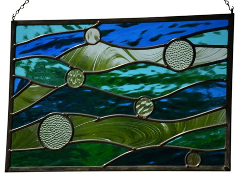 Blue Bar Stools Kitchen Furniture stained glass beach decor stained glass window panel