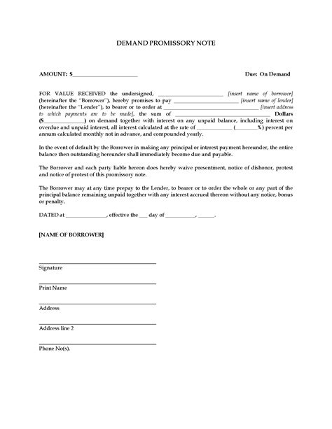 demand promissory note template demand promissory note forms and business