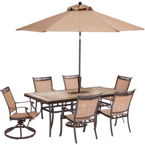 Two Chair Dining Set Fontana 7 Dining Set With Two Swivel Rockers Four Dining Chairs A Tile Top Dining Table