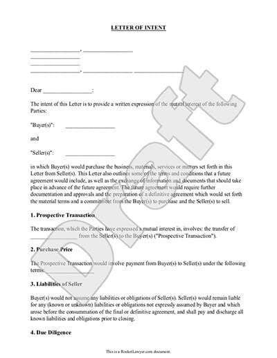 Sle Letter Of Intent To Finance A Project make a letter of intent loi template rocket lawyer