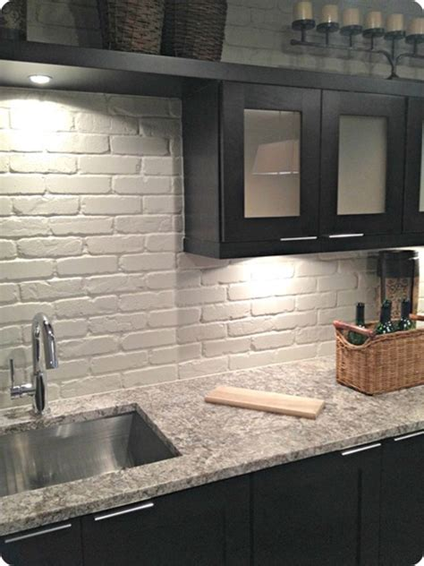 kitchen paneling ideas faux brick backsplash copper to