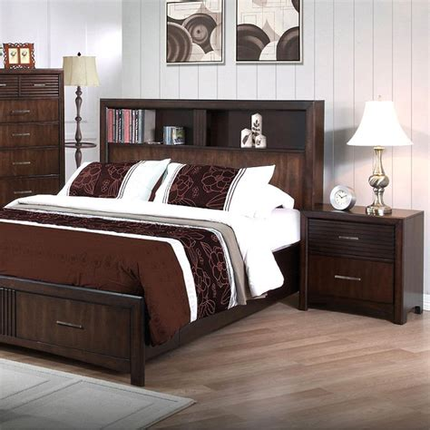 oak king bedroom set edison 5 piece bedroom set storage bed java oak king