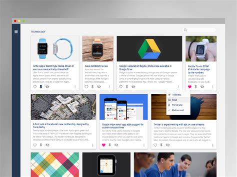 Application Design News | material design news feed app uplabs