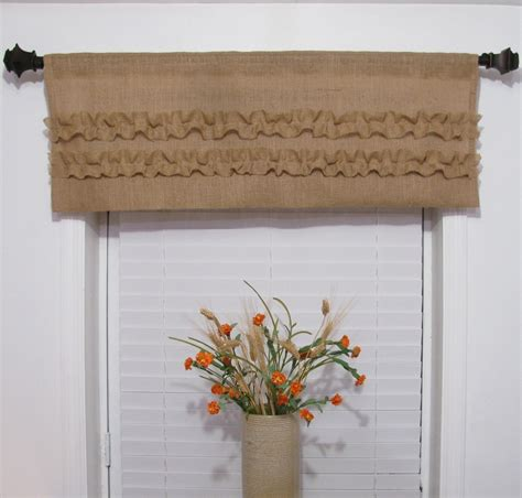 Handmade Window Treatments - burlap ruffled valance rustic curtain handmade window
