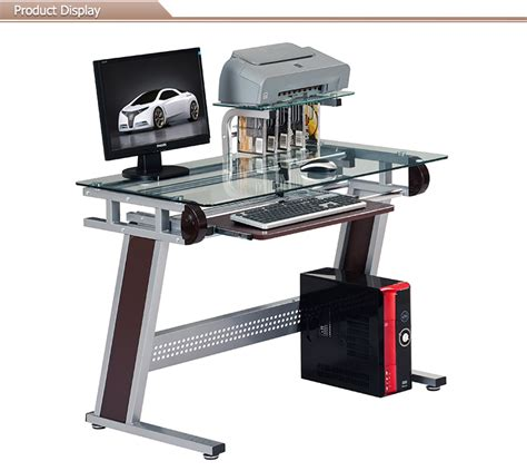 metal glass gaming computer desk attached the printer