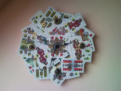 Recycled Home Decor Colourful Upcycled Wall Clock From Playing Card And Coins