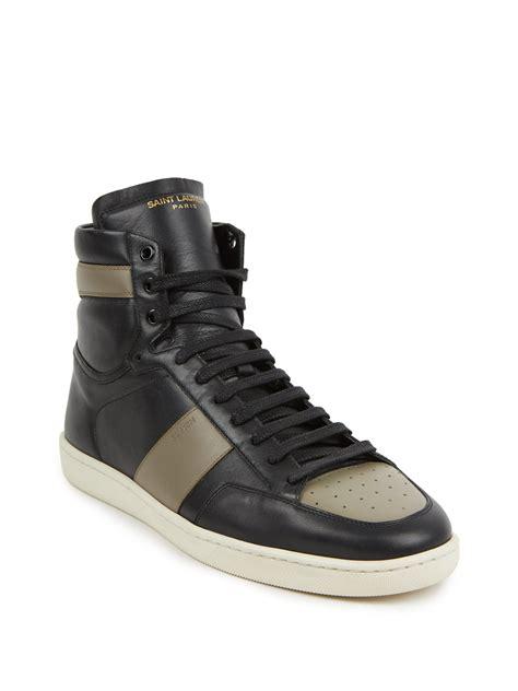 laurent high top sneakers laurent colorblock leather high top sneakers in