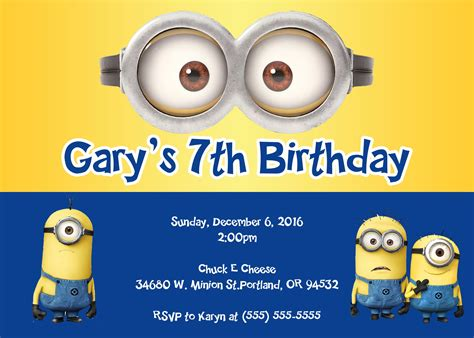 Minions Birthday Invitations Party Minions Pinterest Minion Invitation Minion Birthday Minion Invitation Template