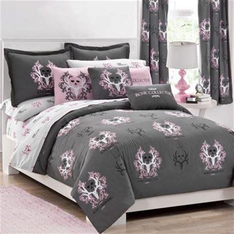 bone collector grey pink skull bedding comforter pink
