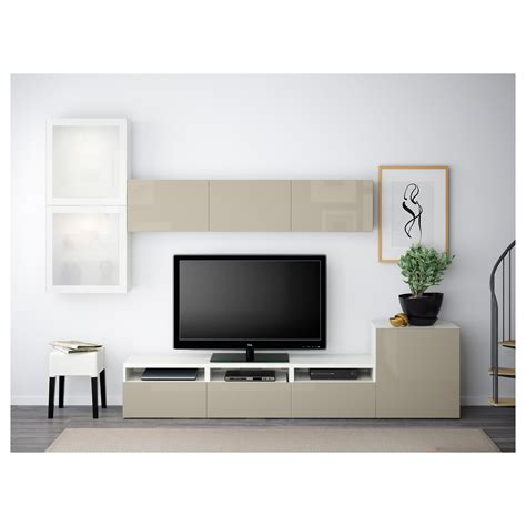 besta beige best 197 tv storage combination glass doors white selsviken