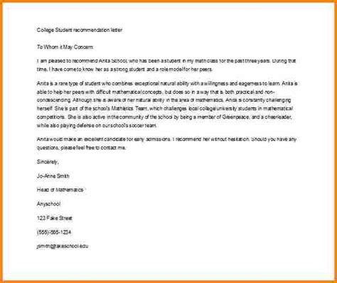 letter of recommendation exles 5 college letter of recommendation sle for student 1414