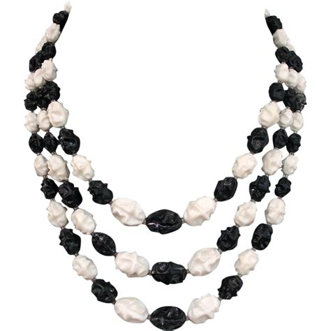 black and white bead necklace vintage black white olive three strand necklace
