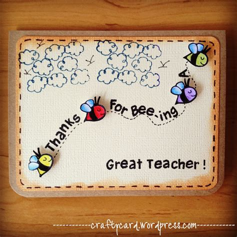 Handmade Teachers Day Card - m203 thanks for bee ing a great