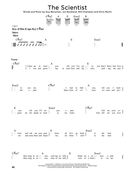 Collection Of Coldplay The Scientist Guitar Chords Lyrics Tabs Song