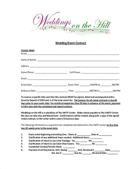 Sle Event Contract Form 10 Free Documents In Word Pdf Wedding Contract Template For Wedding Planner