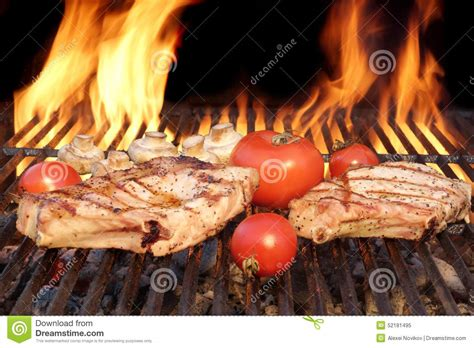 flaming rooster bbq rib loin two steaks and vegetables char grilled flaming bbq grill stock image image 52181495