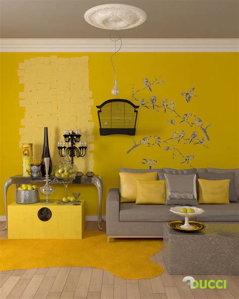 Living Room In Grey And Yellow Color Walls On Yellow Living Rooms Principal