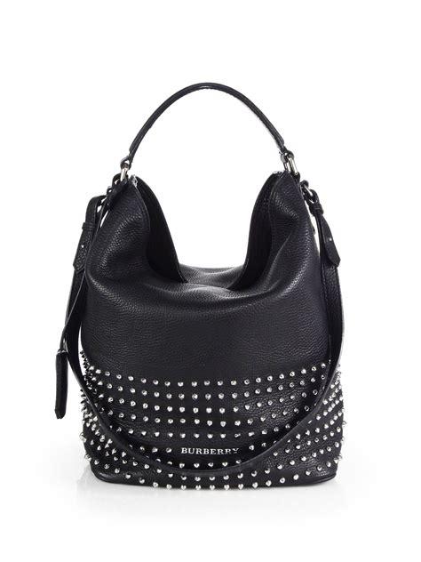 Zara Studded Hobo Bags Black lyst burberry susanna medium studded bag in black
