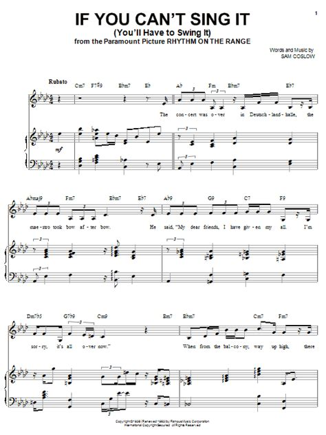 sing sing sing with a swing lyrics if you can t sing it you ll have to swing it sheet