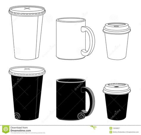 Outline Template Paper Glass And Mug Royalty Free Stock Photography Image 10636827 Coffee Mug Box Template