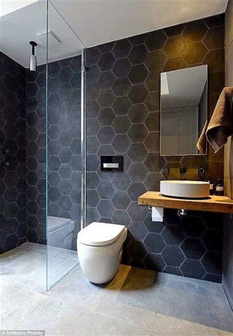 great tile bathrooms great hexagon bathroom slate tile black łazienka d 211 ł