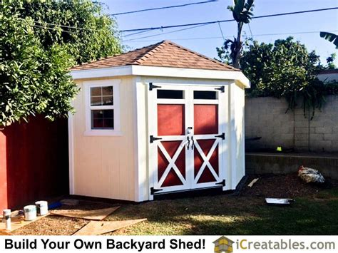 hip roof corner backyard shed plans  icreatables