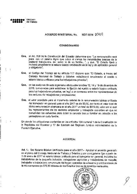sueldo basico p empleado publico 2016 ionegoldcom mdt acuerdo ministerial nro 0300 salario b 225 sico