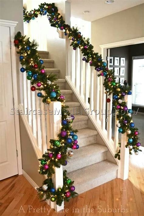 garland ideas christmas staircase garland ideas best staircase ideas
