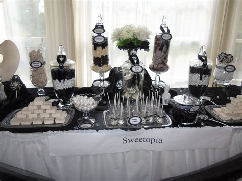 Elegant Black And White Candy Buffet School Auction Gala Black And White Buffet