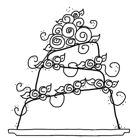 free coloring pages of tiered cake
