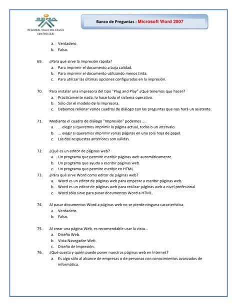 preguntas personales y divertidas banco de preguntas word 2007