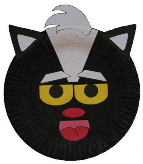 Dltk Paper Crafts - paper plate skunk craft