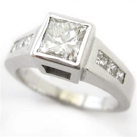 princess cut bezel set engagement ring p65