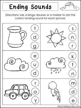 kindergarten activities ending sounds ending sounds kindergarten worksheets ending best free