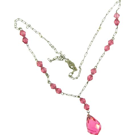 delicate choker length briolette necklace with pink