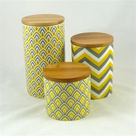 set of 3 modern retro ceramic canisters kitchen chevron