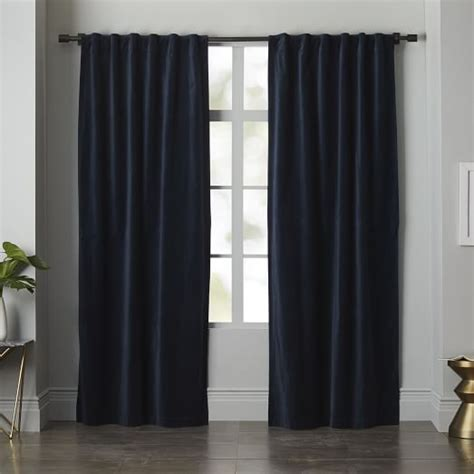 regal drapes velvet pole pocket curtain regal blue west elm