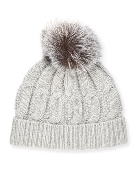 cable knit hat with pom sofia cable knit fur pom beanie hat