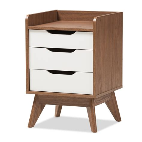 white nightstand with wood drawers baxton studio brighton mid century modern white and walnut