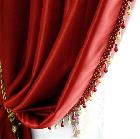 red satin curtains production gallery