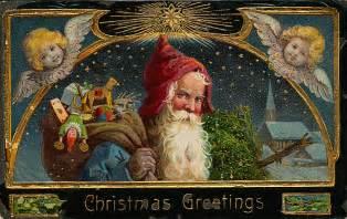 Free christmas postcards with vintage santa images printable santa