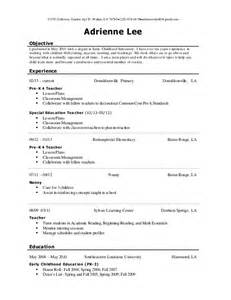 Early Childhood Education Resume Objective by Early Childhood Education Resume Sle Sles