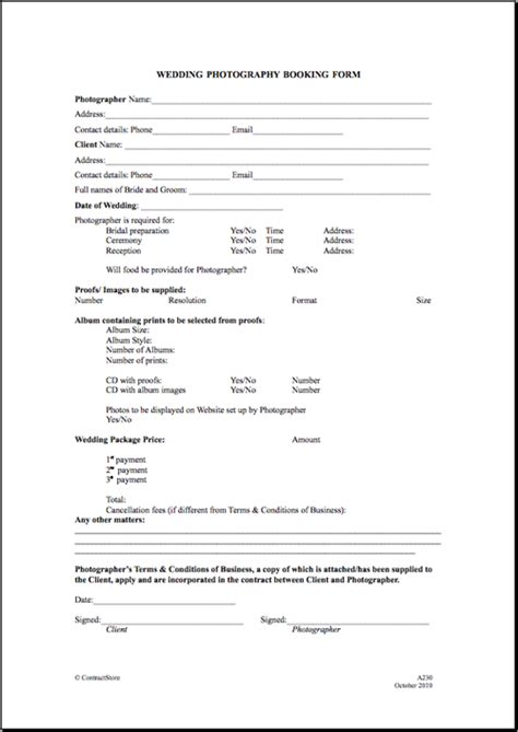 printable wedding photography contract template form generic