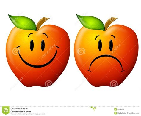 imagenes de happy and sad happy and sad cartoon apples stock photos image 4542363